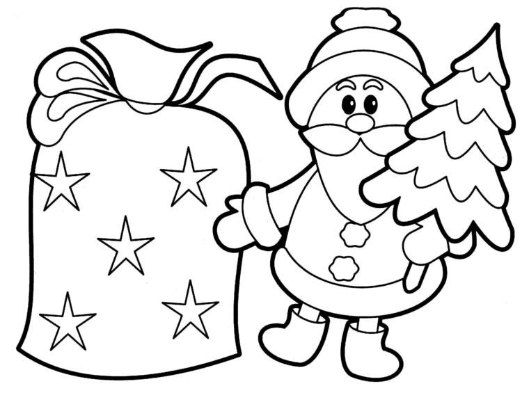 disegni di natale, una proposta tutta da colorare anche dai più piccoli con babbo natale e un grande sacco