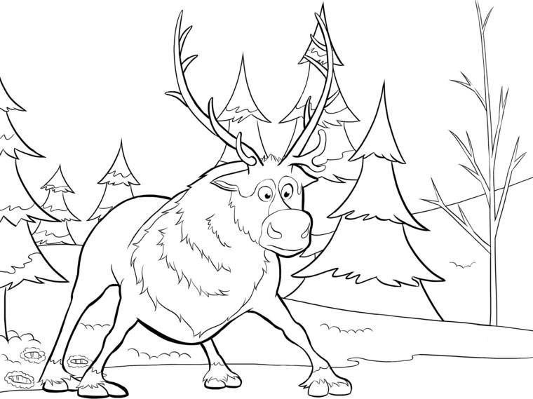 disegni natale per bambini, una grande e impacciata renna e tanti alberi
