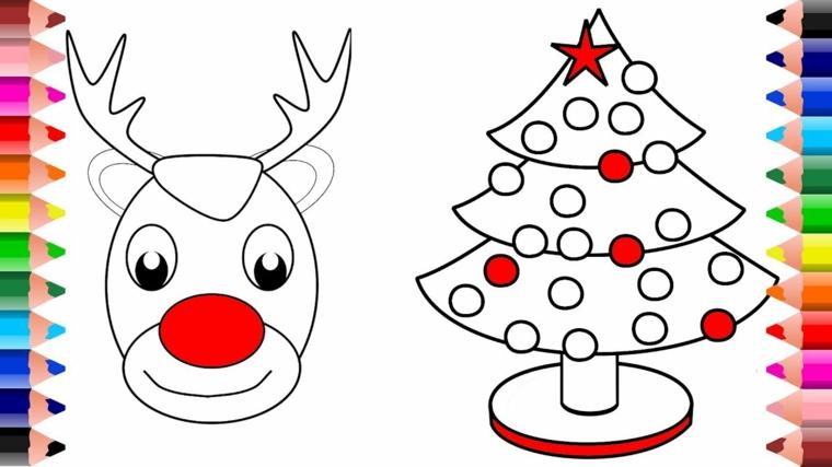 natale da colorare, due disegni simpatici e facili da realizzare: una renna e un abete decorato