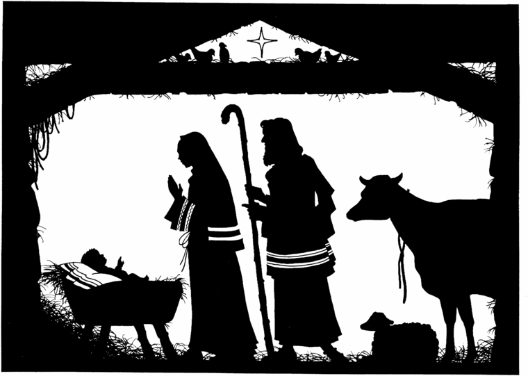 disegni di natale, la natività in bianco e nero, un'idea originale da realizzare