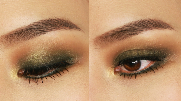 ombretto verde e oro brillanti, un make up ideale per gli occhi nocciola