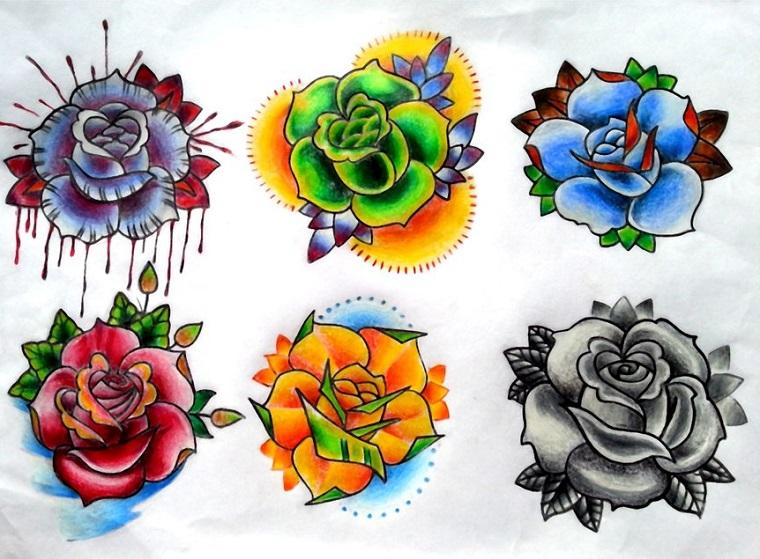 Idee per tatuaggi old school, tattoo fiori e rose colorati con colori forti e vivaci