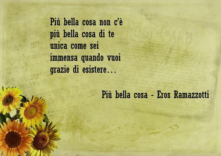 Piccola parte scritta su un foglio della canzone di Eros Ramazzotti Più bella cosa