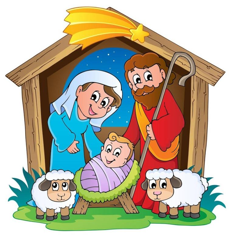 disegni sul natale, una capanna con all'interno maria, giuseppe, gesù bambino e due pecorelle