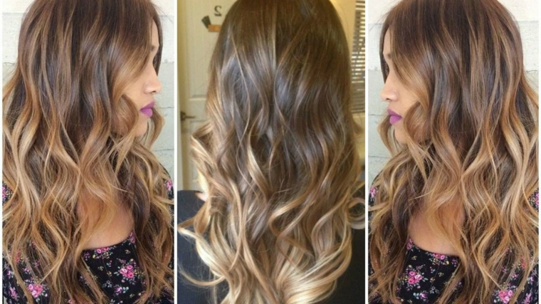 Acconciature donna con i capelli mossi e colorazione ombre sulle lunghezze