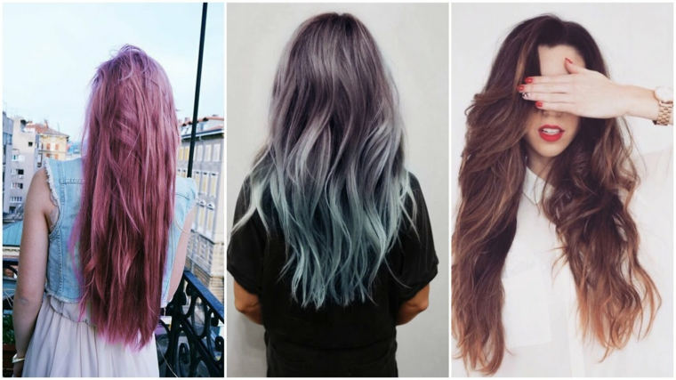 Tre proposte di acconciature donna con capelli lunghi, mossi e lisci di colore stravagante