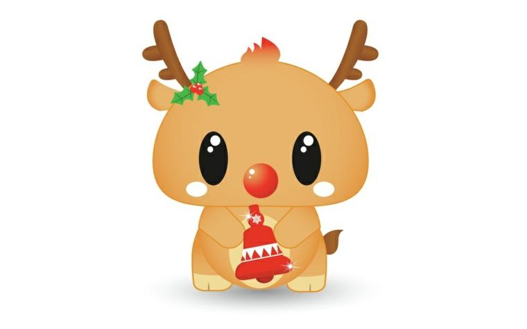 una graziosa e tenera renna con una campanella rossa in mano: un'idea da disegnare