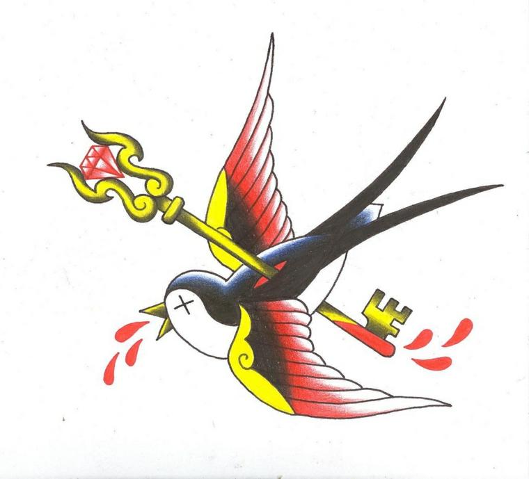 disegno per un tattoo in stile tradizionale con una rondine trafitta da una chiave