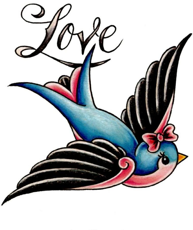 disegno per tatuaggio in stile tradizionale raffigurante una rondine azzurra e rosa e una scritta