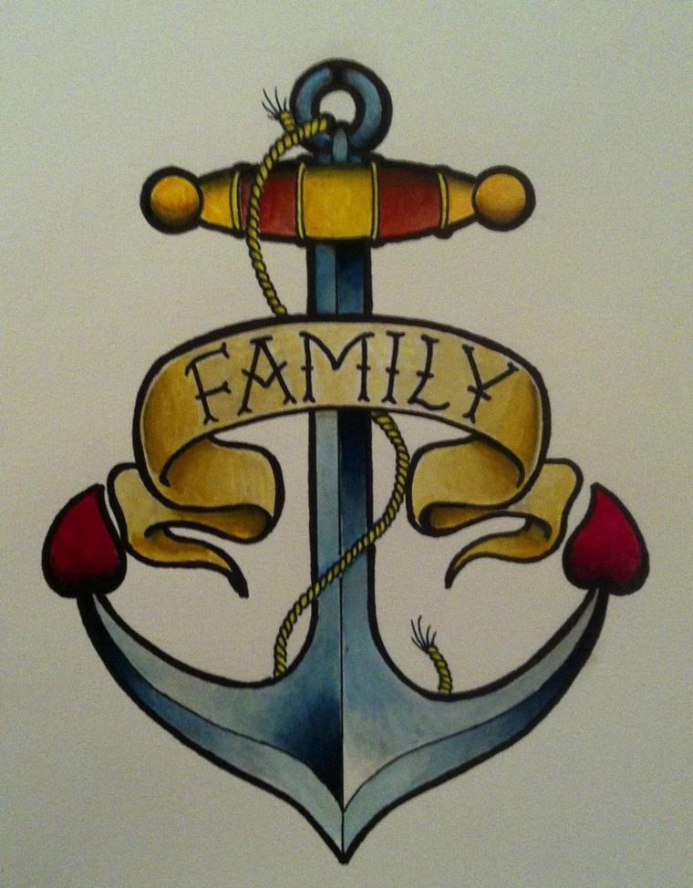 tattoo old school disegni, un'ancora con una pergamena con la scritta family