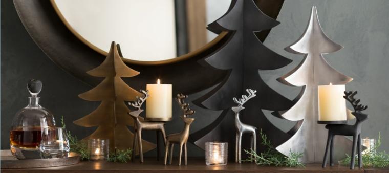 Decori natalizi in stile moderno, alberelli di Natale in legno di colore nero e oro e candelabro in metallo forma di renna