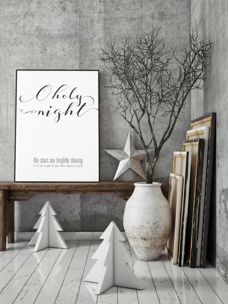 Decori natalizi dal design moderno con alberi di Natale in legno piccoli e stella da parete colore grigio