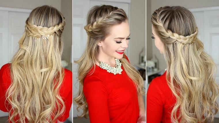 Acconciatura donna con i capelli lunghi e di colore biondo, treccia elegante stile medievale