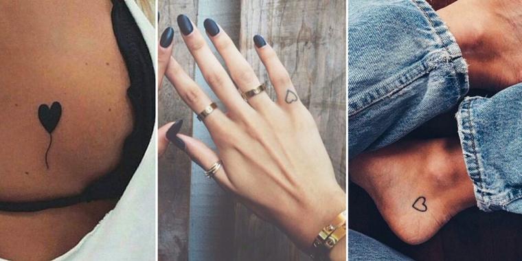 Cuori piccoli tatuati sul seno di una ragazza, sul dito e sul piede