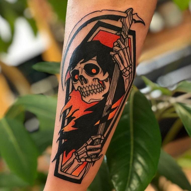 tattoo avambraccio stile vecchia scuola disegno tatuaggio scheletro pirata