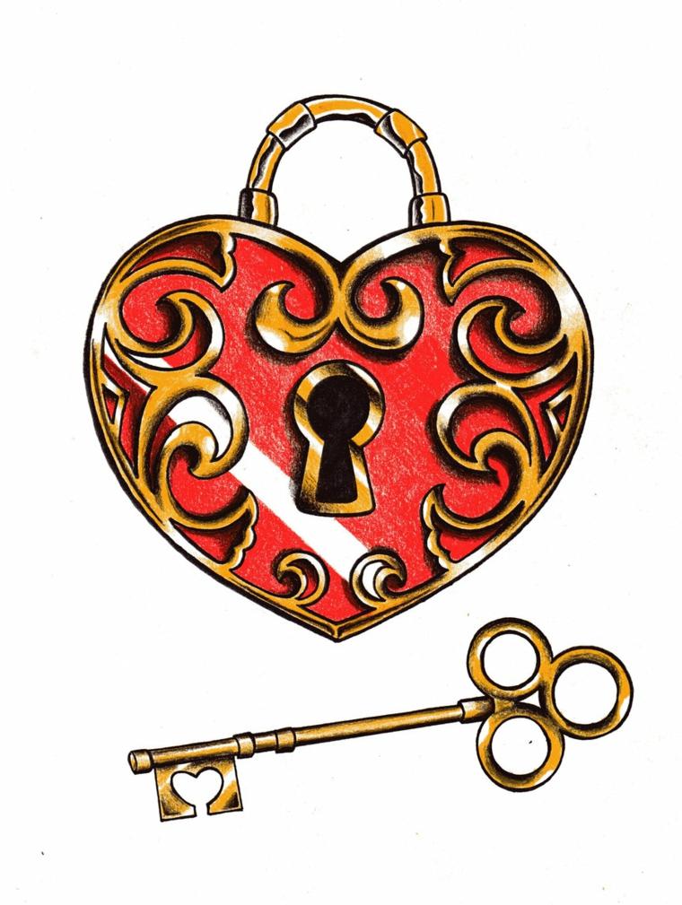tattoo old school, un disegno tipico: un lucchetto a forma di cuore con la chiave