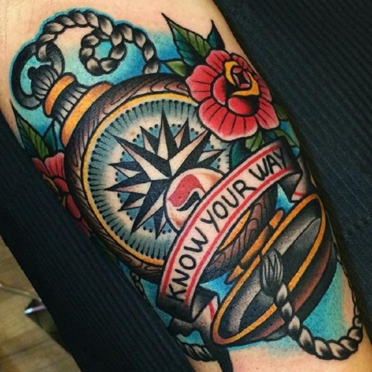 tatuaggio old school, una grande bussola con una scritta e delle rose rosse