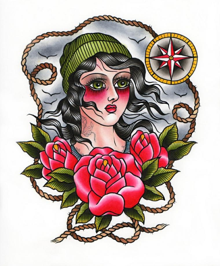 tattoo old school, il disegno di una donna con tre rose rosse e una bussola