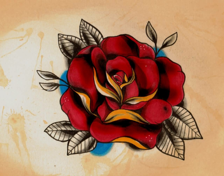tatuaggio old scholl, una proposta di rosa rossa di grandi dimensioni dai colori vivi