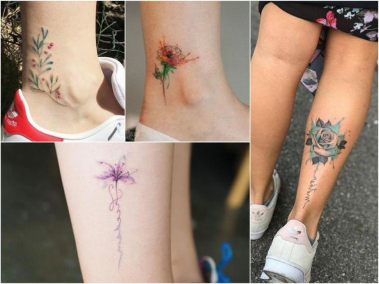 Tatuaggi piccoli caviglia, donna con tattoo sulla gamba, disegno tattoo fiori colorati
