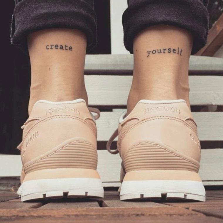 Tatoo piccoli, idea per due tatuaggi piccoli da fare sulle gambe di una donna, scritta Create Yourself