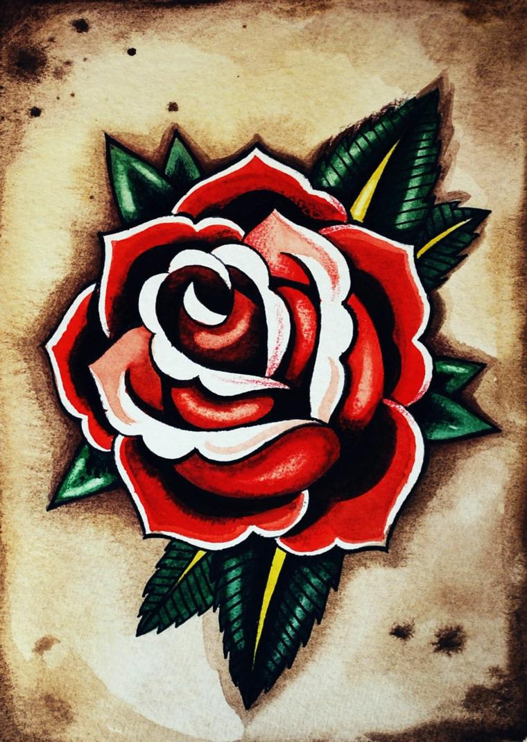 tattoo old school, disegno di una rosa di grandi dimensioni con i petali rossi e bianchi