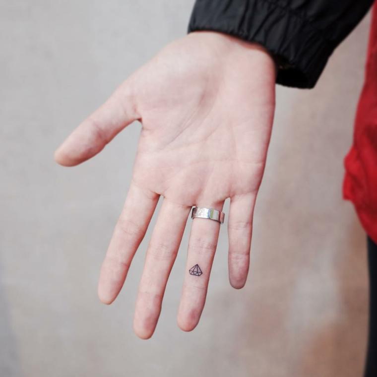 Tatoo piccoli, idea per un piccolo tatuaggio forme geometriche da fare sul dito anulare