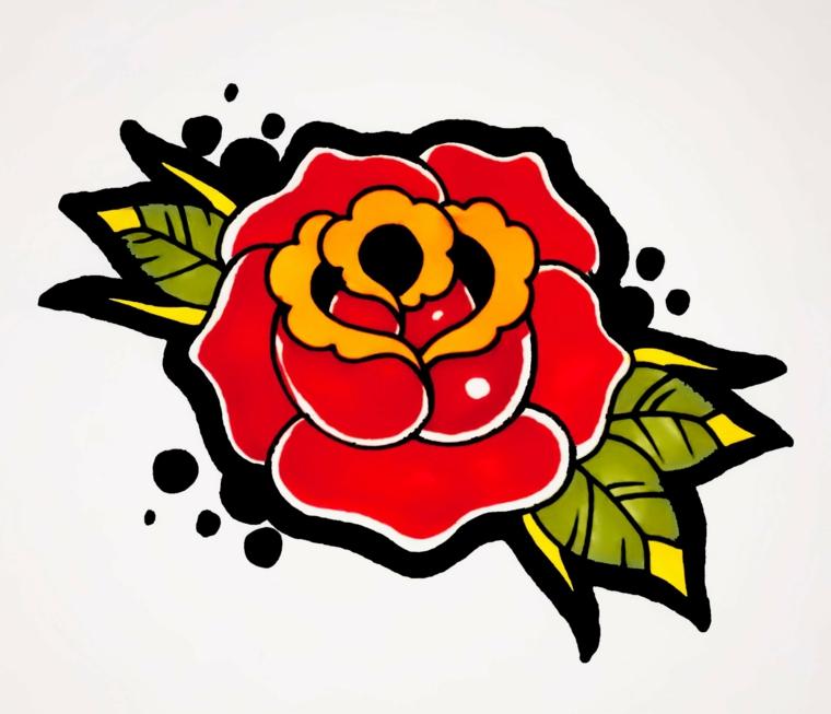 tattoo in stile old school, il disegno di una rosa rossa con dettagli gialli e contorni neri