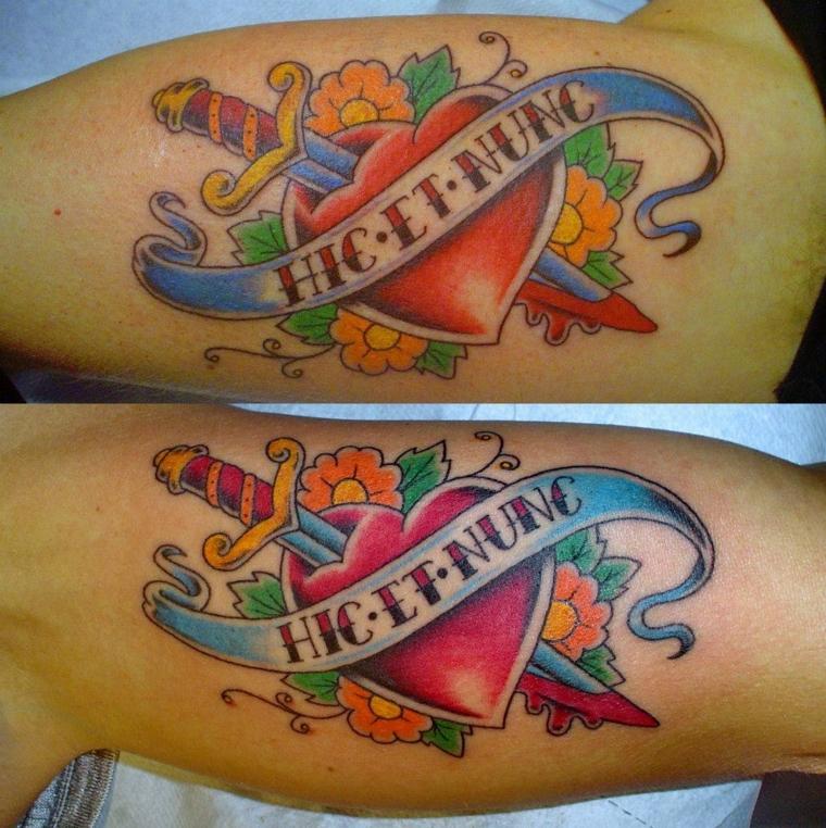 tattoo old school disegni, una proposta raffigurante un grande cuore rosso trafitto dak
