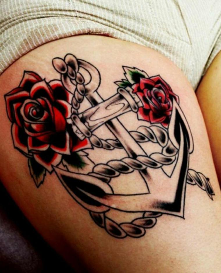 tattoo ancora, un disegno in bianco e nero con delle sfumature e due grandi rose rosse