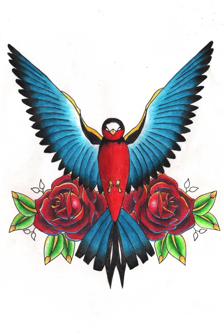 tatuaggi old school, una grande rondine con le ali azzurre spiegate e due rose ai lati
