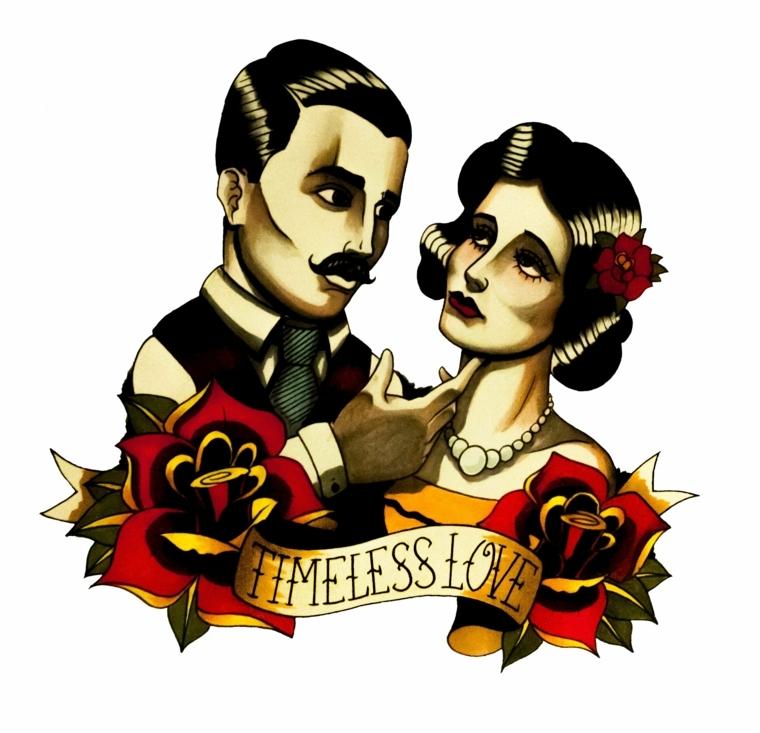 tattoo in stile tradizionale raffigurante un uomo e una donne, delle rose e una scritta
