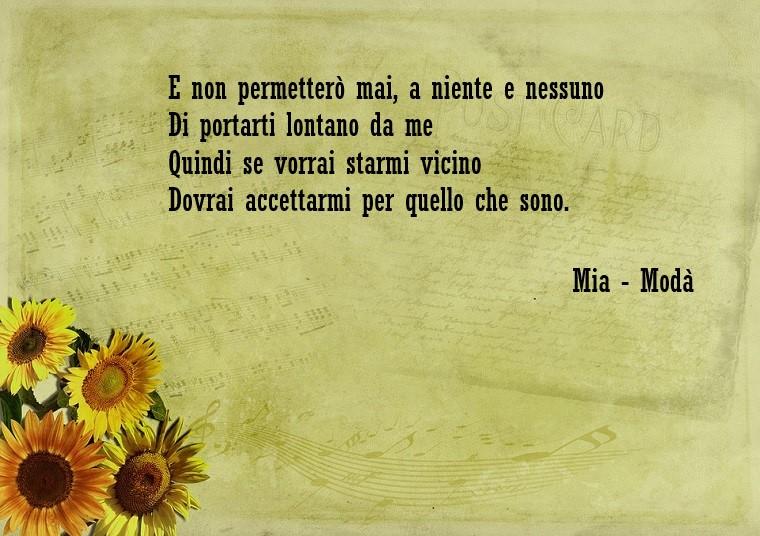 Piccola frase della canzone dei Modà, scritta su un foglio vintage decorato con girasoli