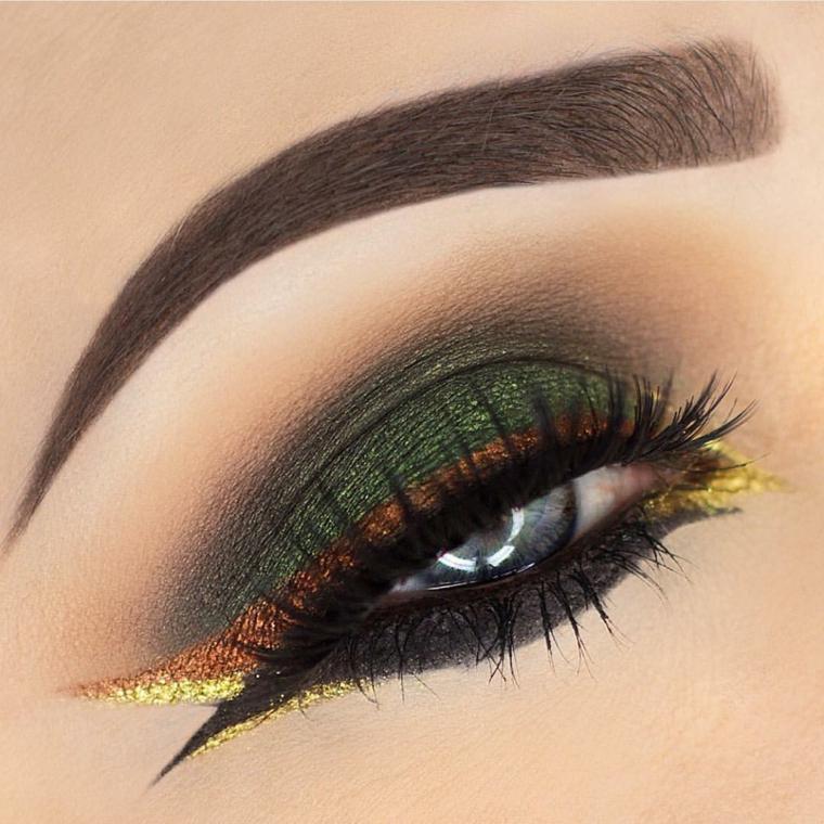make up occhi, una proposta di trucco adatto alle occasioni speciale con il verde, l'oro e il nero