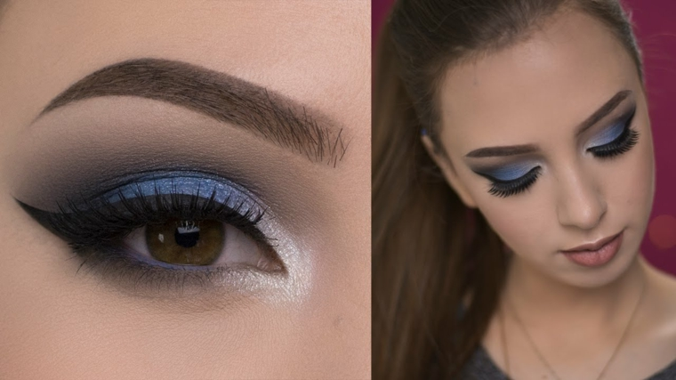 make up per gli occhi con dell'ombretto blu, matita nera e bianco all'interno