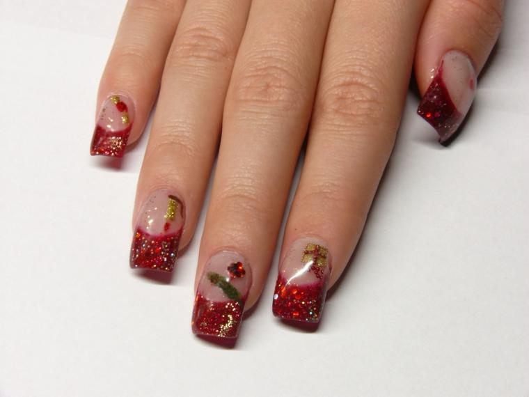unghie natalizie, proposta per una french manicure in tema di festa con smalto rosso glitterato