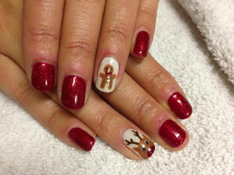 unghie natalizie semplici, idea realizzata con del gel rosso brillante e gli anulari bianchi decorati