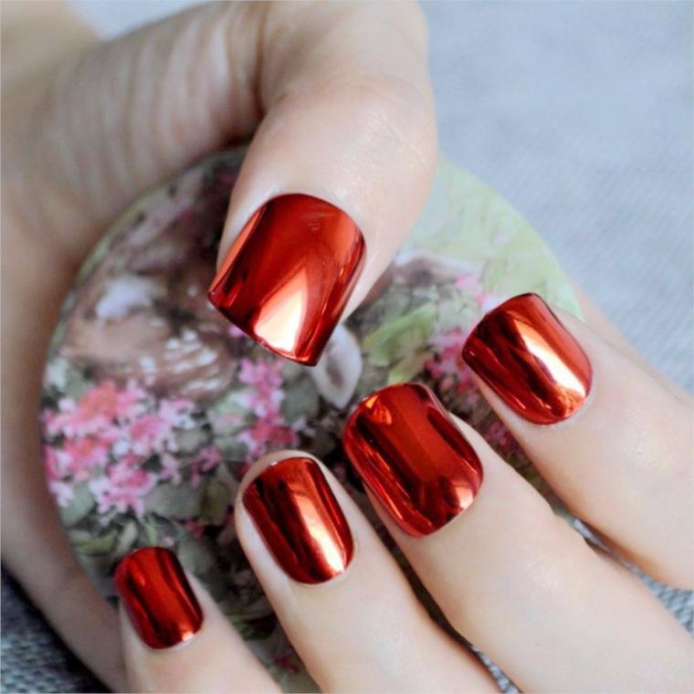 gel unghie rosso, un'idea per una manicure dalla finitura metallizzata nuova ed originale