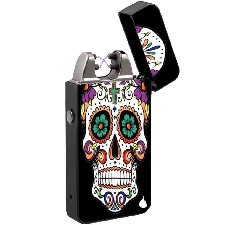 un'idea regalo originale: un accendino nero con l'immagine di un teschio della tradizione messicana