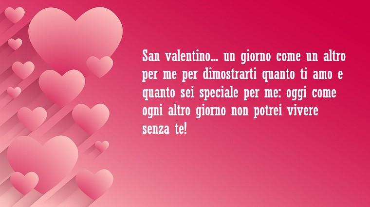 Idee per frasi per San Valentino, dedica su uno sfondo rosa con tanti cuori di lato