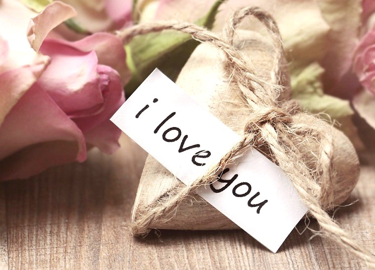 Scritta con frasi simpatiche per la Festa di San Valentino, decorazioni con rose e fiori