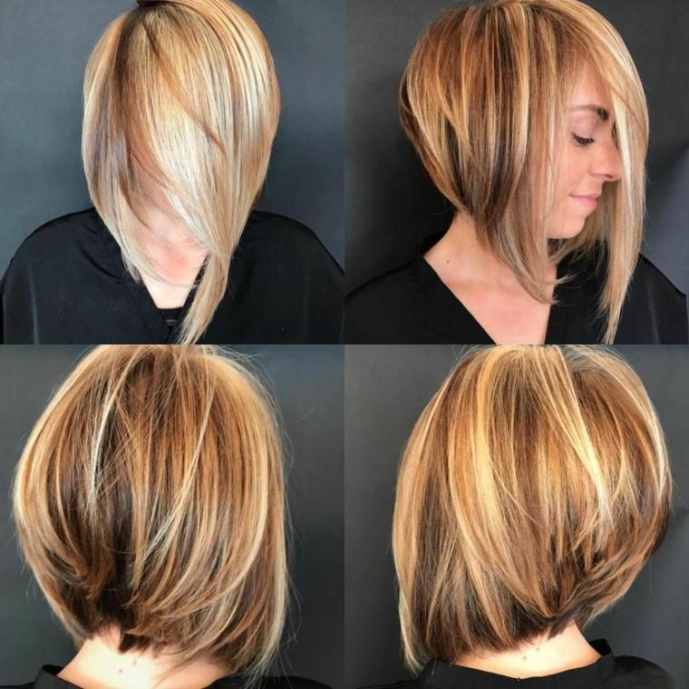 taglio capelli scalato, un caschetto con le punte davanti più lunghi e tinta bionda di varie sfumature