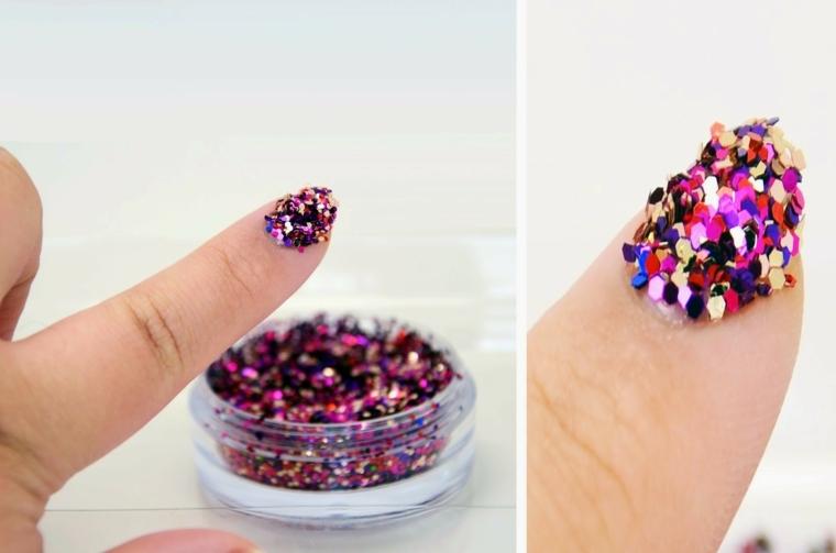Contenitore con paillettes per unghie, decorare le unghie con tanti colori
