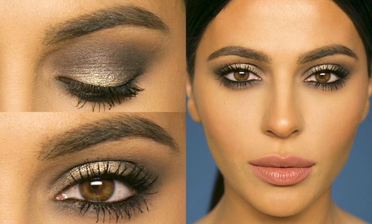 trucco occhi castani, proposta realizzata con dell'ombretto grigio chiaro perlato