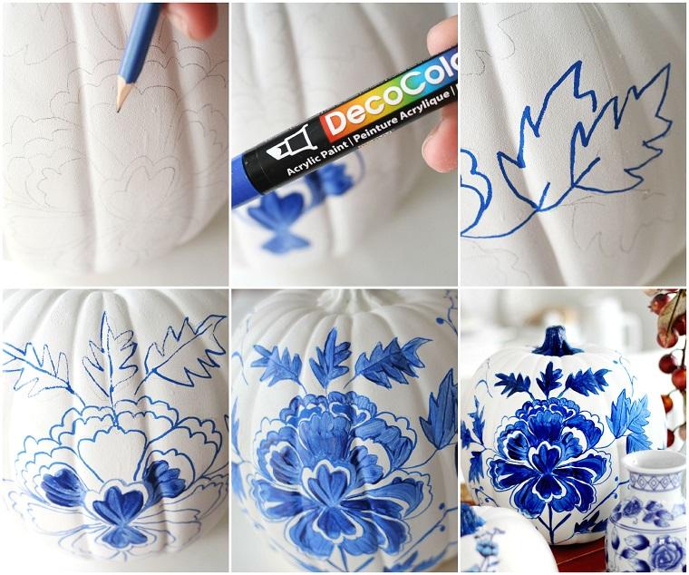 Creazioni fai da te per la decorazione di una zucca effetto porcellana, disegno a matita e colorazione con un pennarello acrilico