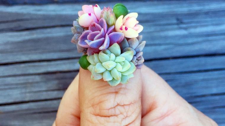Unghie decorate per una mostra, idea decorazione con piante grasse in gel di diverso colore