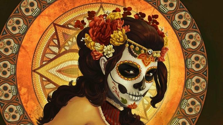 teschio colorato appartenente alla tradizione messicana, una giovane donna con sfondo a tema