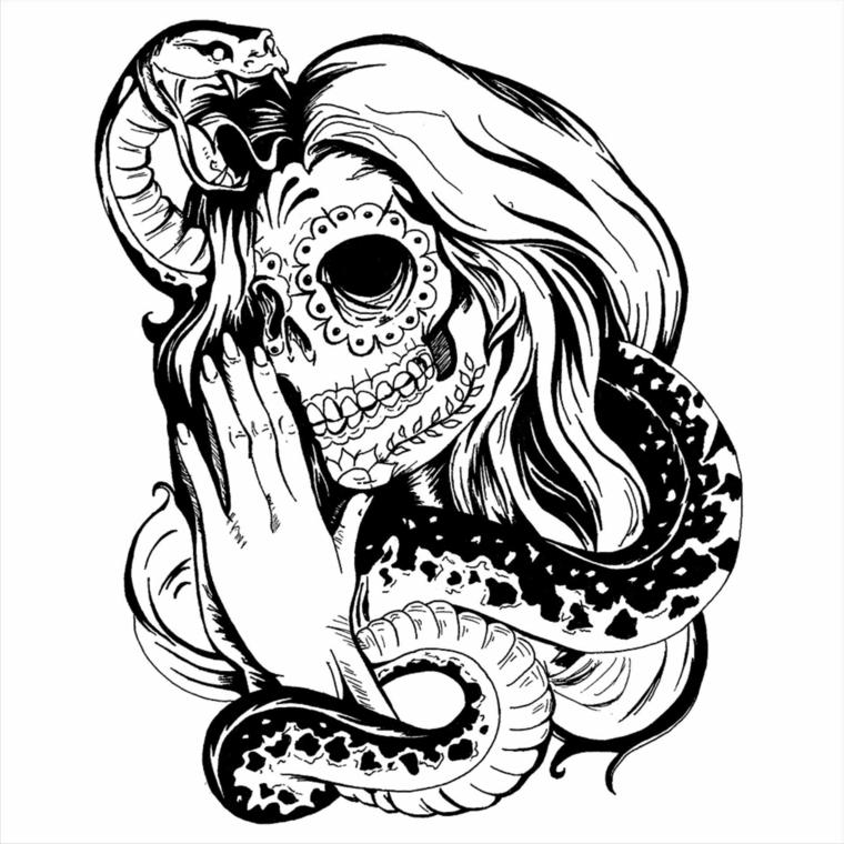 teschio messicano tattoo, un'immagine di tre quarti della santa muerte con un cobra sulla testa