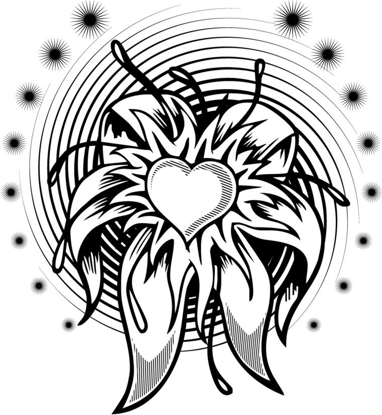 un disegno cuore tattoo in bianco e nero da personalizzare nel colore e nella dimensione