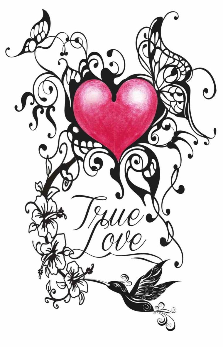 un'idea originale ed elaborata per realizzare un tattoo cuoricino con scritta